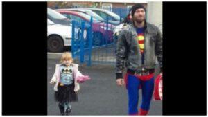 Acompañó a su hija al colegio vestido de Superman y se convirtió en viral
