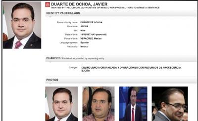 Activa Interpol ficha para localizar a Duarte.