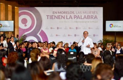 Graco Ramírez: Políticas públicas de Morelos tienen el objetivo de fortalecer y empoderar a las mujeres.