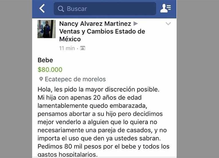 Venden bebé en un grupo de Facebook del Estado de México