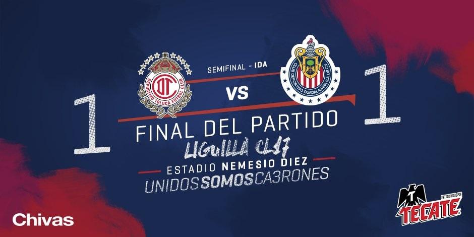 Chivas sale vivo del infierno y empata a 1 -1 con Toluca (Video)