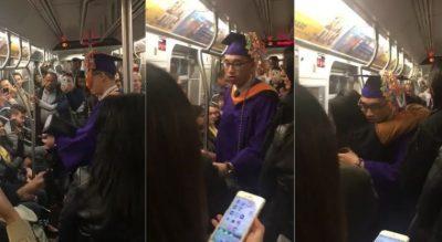Vídeo: No llegó a su graduación y los pasajeros del metro le dan una gran sorpresa