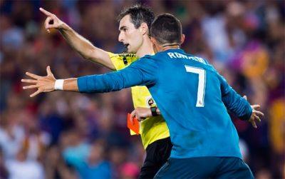 Sanción de 5 partidos para Cristiano Ronaldo luego de empujar al árbitro