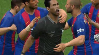 Árbitro celebra gol con el Barcelona en videojuego (VIDEO)