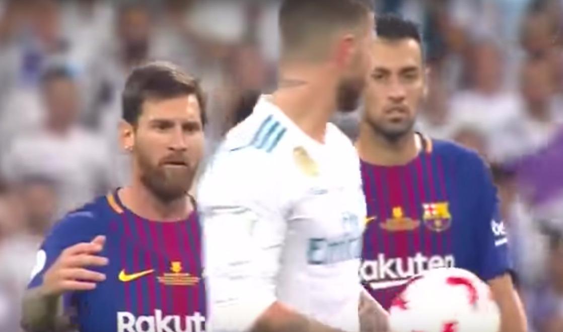 Messi enfurece luego de que Sergio Ramos lo vacila en la final de la Supercopa