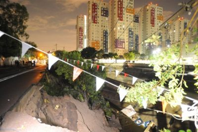 Se hunde una calle en la delegación Azcapotzalco