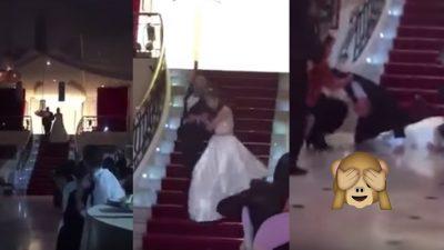 ¡Osote! Quinceañera sale rodando por las escaleras en plena fiesta (VIDEO)