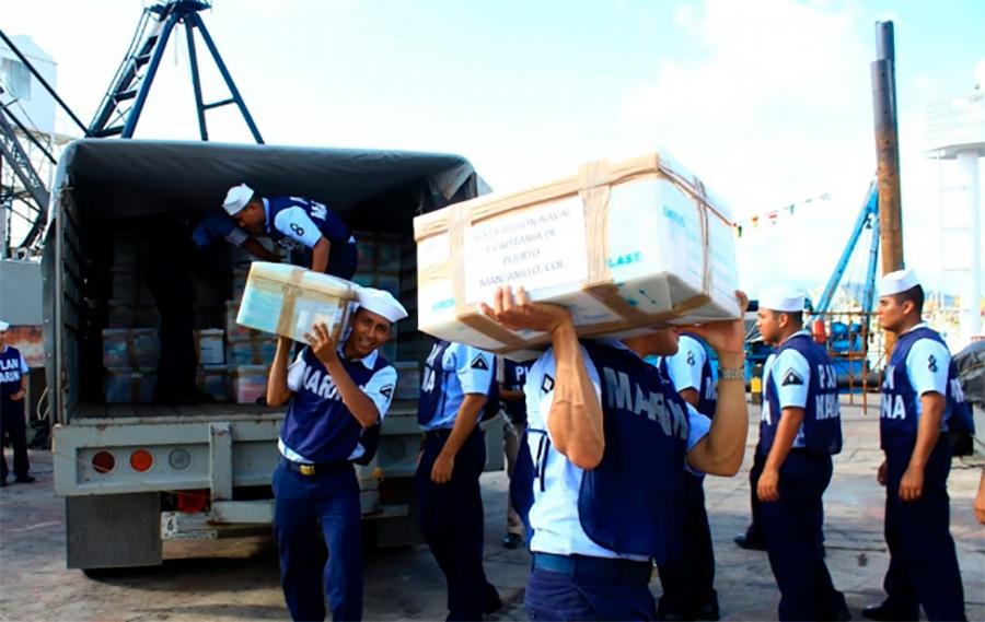 Secretaría de Marina entrega 135 toneladas de ayuda a Oaxaca y Chiapas
