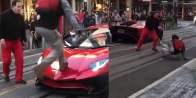 Millonario ataca a sujeto que brincó sobre su Lamborghini