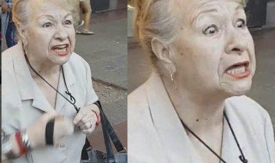 Abuelita enojada agrede a los manifestantes y los rocía con gas pimienta (VIDEO)