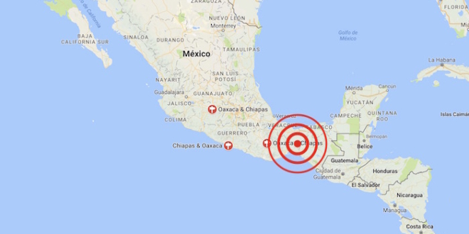 Tres sismos de más de 4 grados en Chiapas y Oaxaca