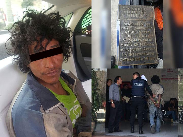 Capturan a indigente que robaba y vendía placas de estatuas de Reforma