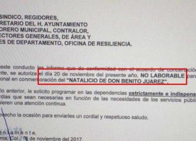 Ayuntamiento de Colima confunde la Revolución con el natalicio de Benito Juárez