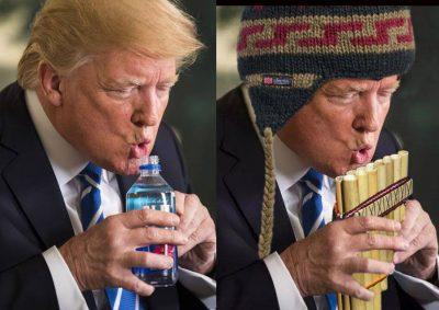 Trump hace el ridículo bebiendo agua y los 'memes' estallan