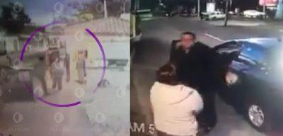 Conductor de Cabify patea a guardia de seguridad; no quería que revisara su cajuela