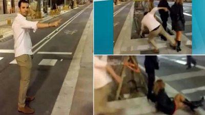 Da brutal patada a mujer en plena calle y paga exorbitante multa (VIDEO)