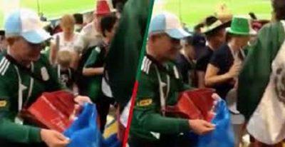 Mexicanos recogen su basura en Rusia al terminar partido de la Selección (VIDEO)