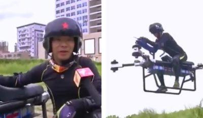 <i>¡No es un avión!</i>: chino <i>reta</i> a la física y construye moto voladora (VIDEO)