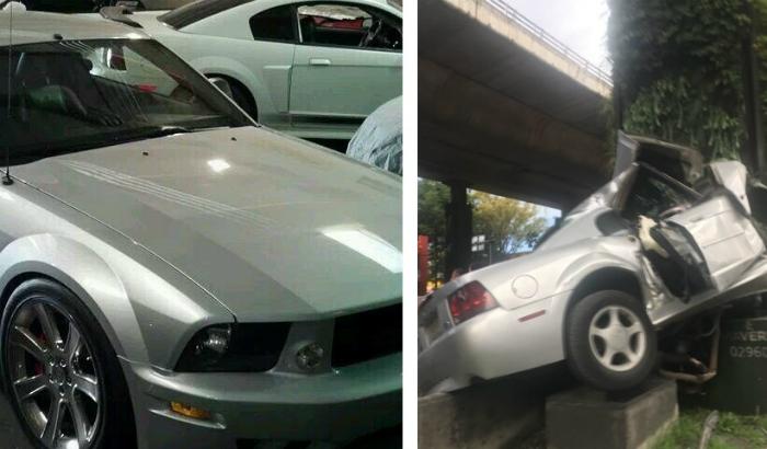 <i>Le fue como en feria</i>: difunden imágenes de Mustang destruido en Periférico