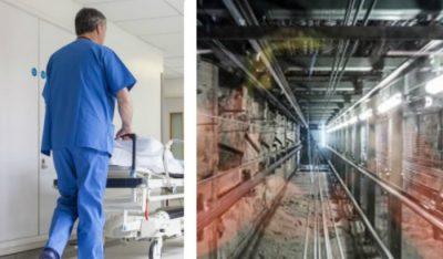 <i>Sóbate</i>: camillero y paciente caen por avería en el ascensor