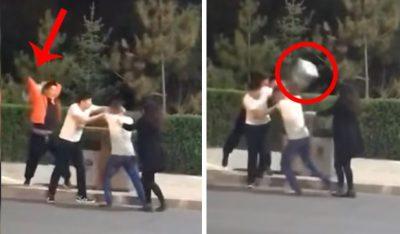 Intenta detener pelea con cartón de chelas y le rompe la boca a mujer