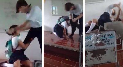 Difunden brutal golpiza de estudiante a compañera en Quintana Roo (VIDEO)