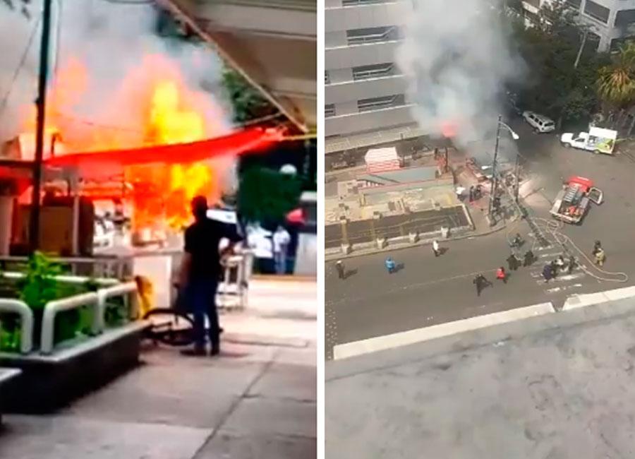 Captan impactante incendio de puesto de tacos afuera del metro de la CDMX