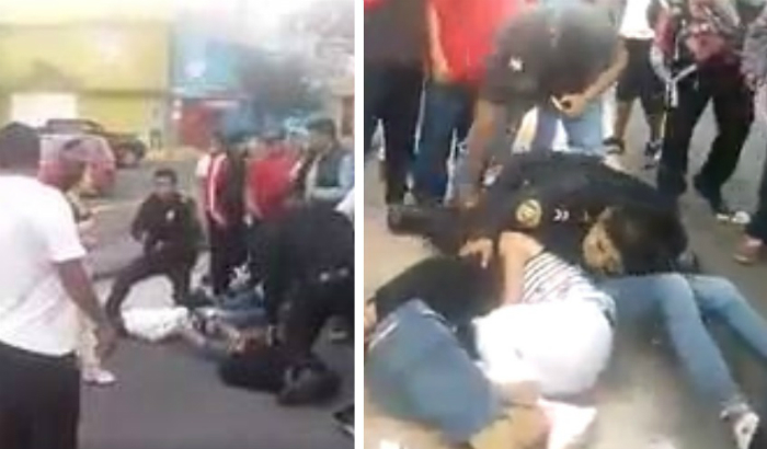 Dan golpiza a presuntos asaltantes de transporte público en Iztapalapa (VIDEO)