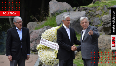AMLO y del Mazo encabezan guardia de honor en Monte de las Cruces