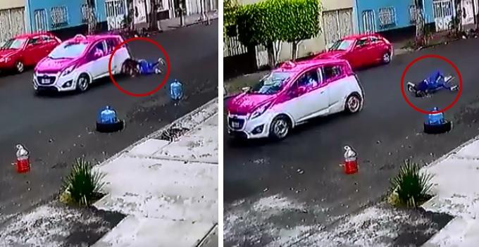 Taxista de CDMX arrastra a mujer tras chocarla y darse a la fuga (VIDEO)