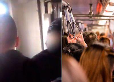 Indignan hombres sorprendidos masturbándose en transporte público (VIDEO)