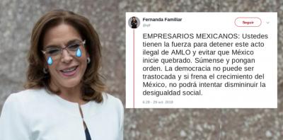 Fernanda Familiar pide derrocar gobierno de AMLO y tuiteros se la comen viva. Noticias en tiempo real