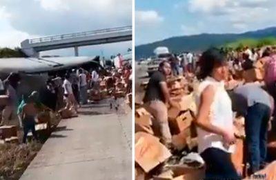 <i>¡Gandallas!</i>: Tráiler de cerveza se accidenta y abusivos inician rapiña (VIDEO)