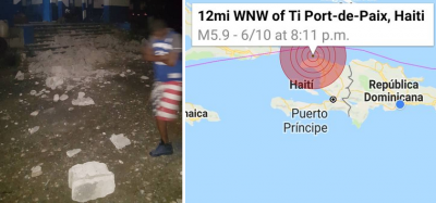 Fuerte temblor de 5.8 grados azota Haití dejando múltiples daños y un fallecido