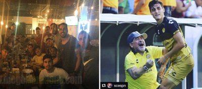 Exhiben foto de Maradona divirtiéndose entre dos damas