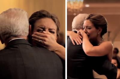 Novia llora desconsolada en su boda al escuchar mensaje de su padre muerto (VIDEO)