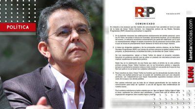 Redes Sociales Progresistas defienden a César Yáñez de golpeteo mediático