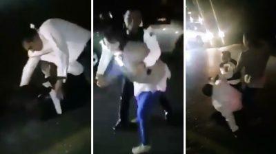 Embarazada y su pareja golpean a policía de tránsito en plena calle