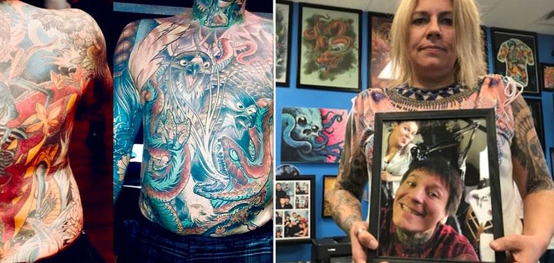 Viuda paga para despellejar a su esposo y exhibir sus tatuajes en obra de arte