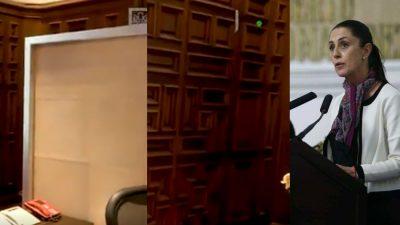 <i>¿A qué le temía?</i> Sheinbaum expone ventanas blindadas en oficina de Mancera
