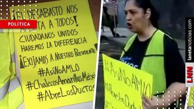 Exhiben a mujer que se manifiesta contra AMLO usando un 'chaleco francés'