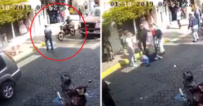 Indignante: Difunden video de motociclista arrollando a hombre mayor