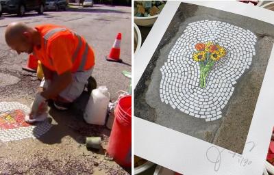 Conoce al artista callejero que convierte baches en hermosos retratos