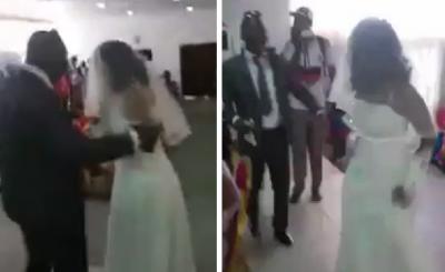 Viralizan aparición de amante vestida de novia en plena boda (VIDEO)