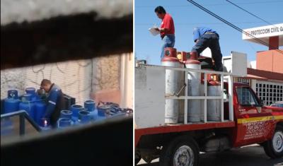 Exhiben cómo empleados roban gas y vuelven a poner sello de garantía con fuego