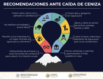 Tlaxcala emite recomendaciones de seguridad tras actividad del Popocatépetl