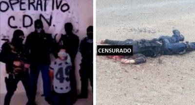 Exhiben cuerpos de policías brutalmente acribillados por CDN en Tamaulipas