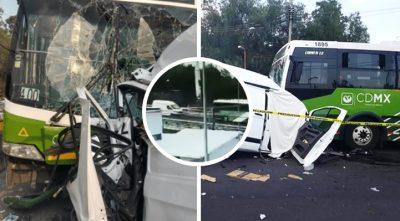 Graban muerte de conductor tras estrellarse de frente con autobús en CDMX