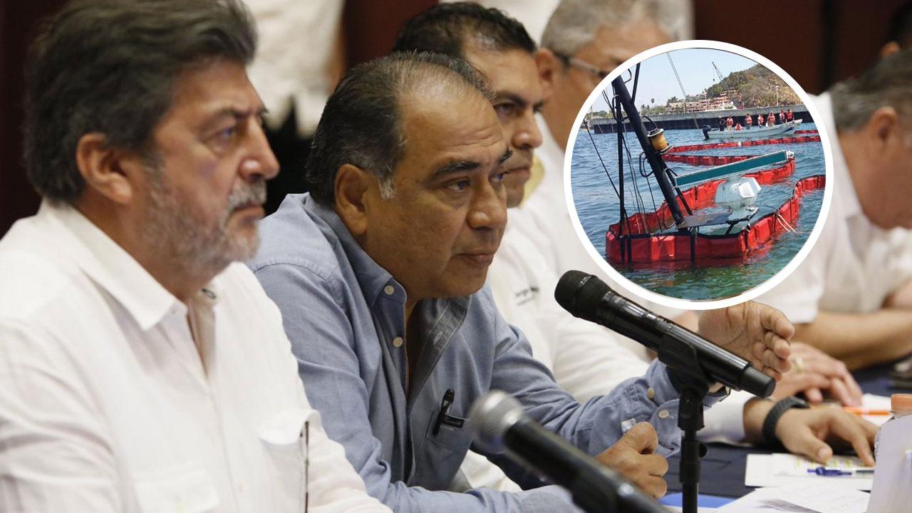 Héctor Astudillo atiende emergencia tras derrame de combustible en el mar