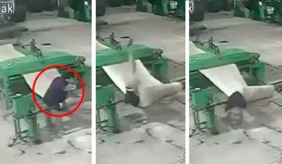 Captan terrible muerte de un empleado; queda atrapado en máquina industrial
